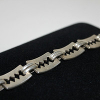 Vintage Sterling Silver Bracelet Taxco Mexico Shark Teeth Steampunk Sawtooth Serrated Industrial