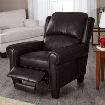 Top Grain Leather Upholstered Wingback Recliner Club Chair - Chocolate Brown