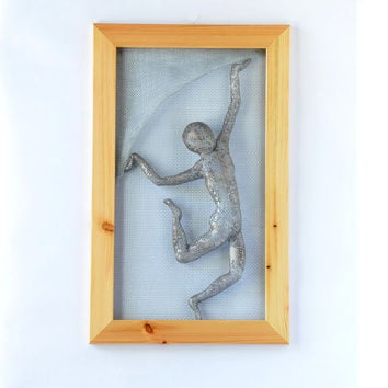 Metal wall art picture - dancing man - Framed art - Wire mesh sculpture - wall decor - Contemporary wall art