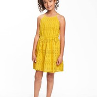 Cinched-Waist Eyelet Cami Dress for Girls | Old Navy