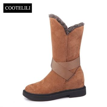 COOTELILI Christmas Winter Booties Women Snow Boots Low Heels Shoes With Fur Boots Woman Faux Suede Leather Botas Female 35-39