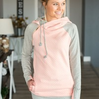 Double Hooded Sweatshirt- Quilted Peach