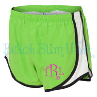 Monogrammed Green Running Shorts Custom Embroidery Beach, Yoga, Athletic Wear