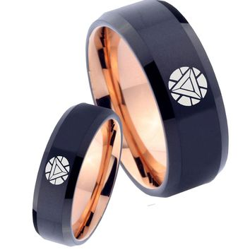 His Hers Iron Man Art Reactors Bevel Tungsten Rose Gold Men Wedding Ring Set