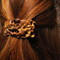 Brown wood hair stick barrette, Summer jewelry, beige , Rustik, honey, Hair Clasp,Honey secrets, tribal style, Made to order