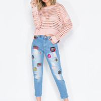 Patch Point Boyfriend Jeans