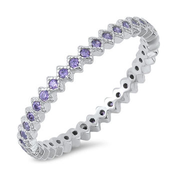 Sterling Silver Amethyst CZ Stackable Cubic Zirconia Ring