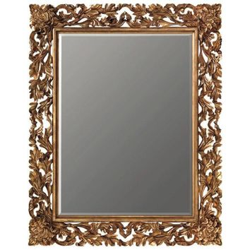 GM Luxury Pascal Rectangular Decorative Wall Art Hand Carved Mirror, Antique Gold Leaf 55x67