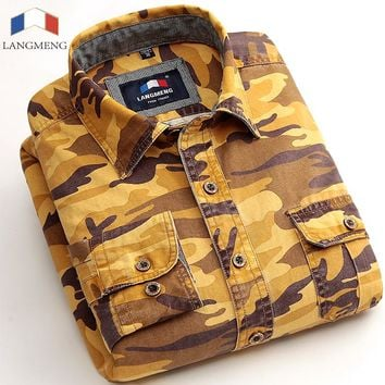 Langmeng Brand 100% Cotton Slim fit casual shirt Men Army mens long sleeve camouflage shirts Camo Camisa Masculina