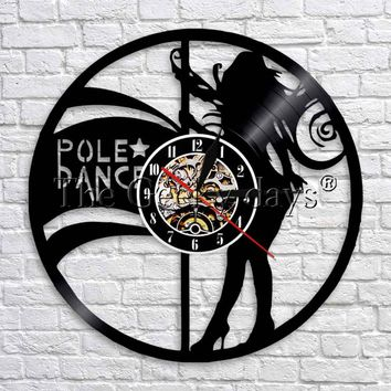 1Piece Pole Dance Vinyl Record Clock Female Strippers Wall Clock Sexy Female Dancers Modern Wall Art Decorative LED Time Clocks