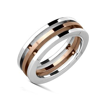 Gold Trinity - Industrial Rose Gold Silver Triple Bolted Band Stainless Steel Ring