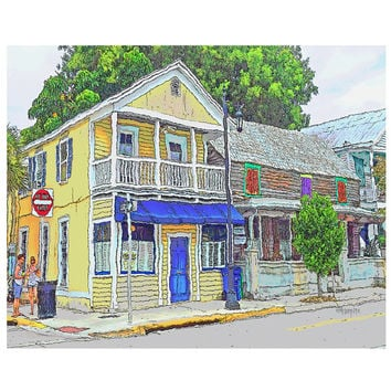 Key West House with Colorful Shutters Giclee Print 8x10 16x20 Korpita