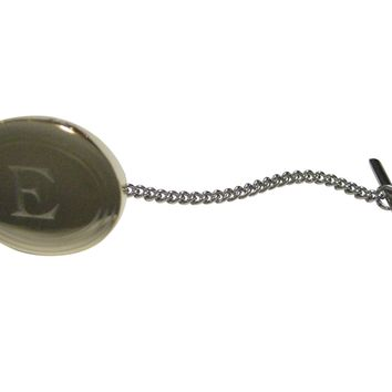 Gold Toned Etched Oval Letter E Monogram Tie Tack