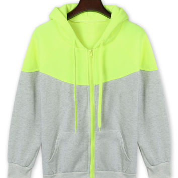 Light Green Zippered Drawstring Hoodie