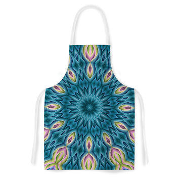 """Sylvia Cook """"Zapped Teal"""" Blue Teal Artistic Apron"""
