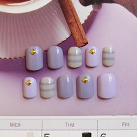 Popular 24 pcs Purple with Stripe Short Fake Nails Rivets Nail Tips with Design in box cute for Daily Office
