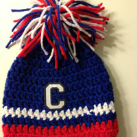 Crocheted Cleveland Indians Baby Beanie