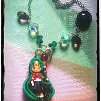 Kawaii and cute necklace inspired by Sailor Moon Sailor Pluto with key and crystal beads handmade