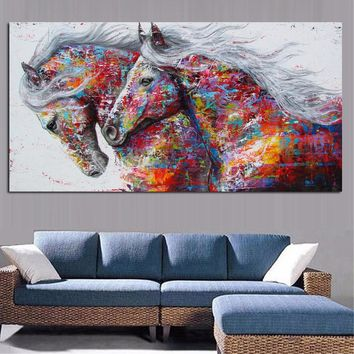 xdr1093 Large Printed Graffiti Canvas Art Horse Oil Paintings Wild Animals prints poster with vivid color for bedroom decor