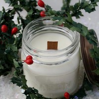 Soy Candle -Bayberry Scented Wood Wick Soy Mason Jar Container Candle