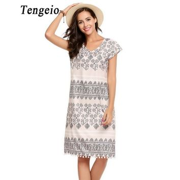 Tengeio Women Summer Casual Bohemian Beach Dress V-Neck Sleeveless Geometric Print Loose Straight Dress China Clothing Tunic 610