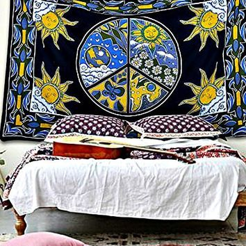 Celestial Sun Moon Peace Sign Boho Hippie Wall Tapestry