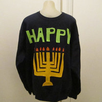 HANUKKAH SWEATER Ugly Christmas Sweater Party Sweashirt Ships in 48 hours will make any size Ships Priority Mail