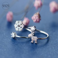 925 Silver Elk Ring, Sweet Snow Flower Index Ring J1130