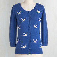 Nautical Mid-length Long Sleeve Button Down Birdlandia Cardigan in Blue