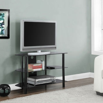 "Black Metal 36""L TV Stand with Tempered Black Glass"