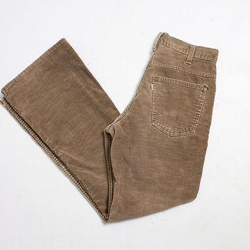 Vintage Levi's Cords - 1970s Brown Corduroy High Waist Flares - 28""