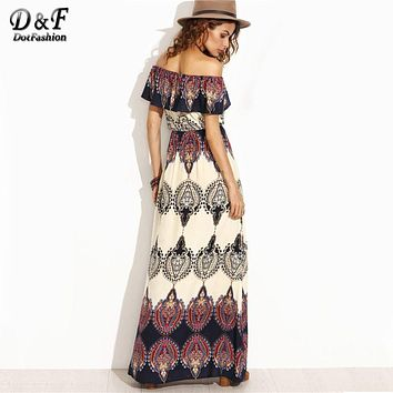 Dotfashion Bohemian Style Maxi Dress Beach Dress Summer Boho Dress Multicolor Print Off The Shoulder Ruffle Maxi Dress