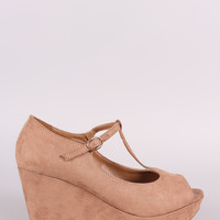 Bamboo Suede T-Strap Peep Toe Platform Wedge