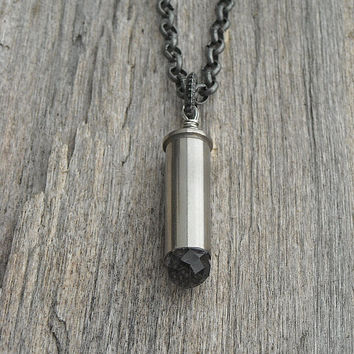 Crystal Bullet Casing Necklace by InkandRoses13