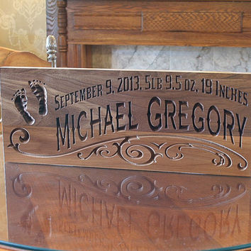 Rustic Baby Sign, Baby Name Sign Ideas, Baby Birth Sign, Custom Wooden Baby Sign, Benchmark Custom Signs Walnut FP
