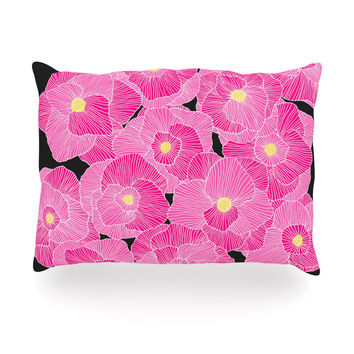 "Skye Zambrana ""In Bloom Pink"" Floral Oblong Pillow"