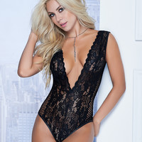Lace And Fishnet Teddy
