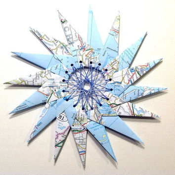 Origami Wreath, Paper Star, European Map Page, Origami Star, Origami Ring, Paper Sculpture, String Art, Paper Love, Hand Sewn, Origami