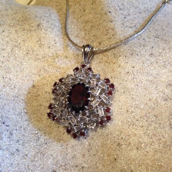 Nemesis Vintage Handmade 925 Sterling Silver white Gold Finish Genuine Garnet Antique Pendant Necklace