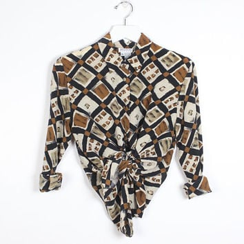 b2bfe938 Vintage Silk Blouse Tan Brown black Abstract Print Boyfriend Shi