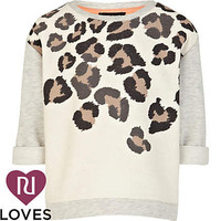 Girls grey leopard shoulder sweat top