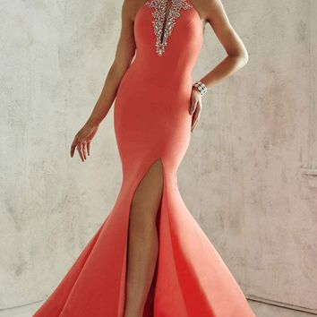 Tiffany Designs - 46025 Impeccable Flourished Halter Long Evening Gown