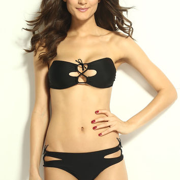 Black Tie String Strapless Bandeau with Cut-Outs