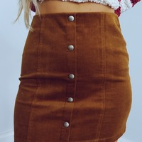 Tell Somebody Skirt: Cognac