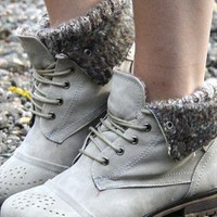 Ladies Military Boots Grey Inner Sock Lace up  from shoesnbags