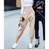 High Waisted Straight Trouser With Chain