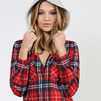 Hooded Plaid Print Button Up Shirt - Red
