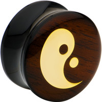 18mm Acrylic Wood Ying Yang Saddle Plug