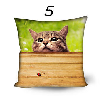 Peep Cute Puppy Kitten Pillow Cover 20 inch Funny Dog Cat Throw Pillow Pillowcase Sofa Decorative Pillow Living Room Decor