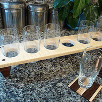 Handmade Wood Mini Brew Beer Sampler and Coaster Set 6 - The Black and Tan -  For Groomsmen